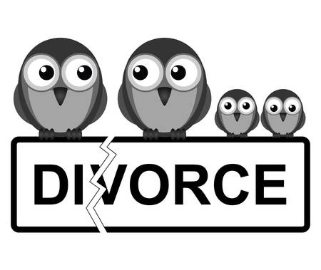 divorce: Representation of family divorce or break up isolated on white background Illustration