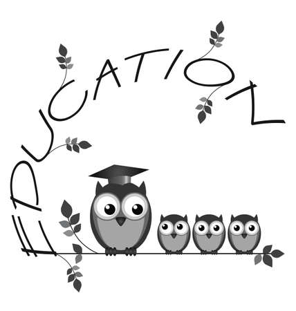 strigiformes: Monochrome education twig text with owl teacher and students isolated on white background