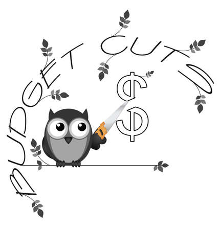 fiscal: Monochrome budget cuts dollar twig text isolated on white background Illustration