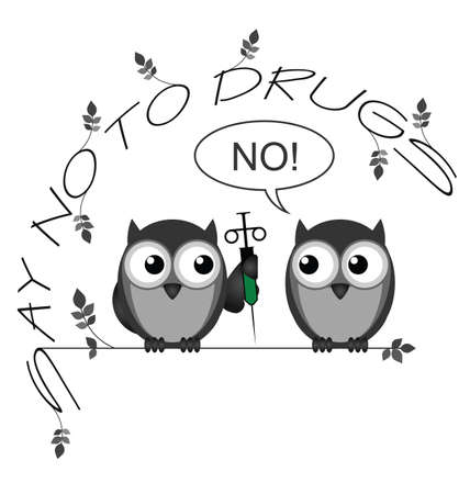 animal abuse: Monochrome say no to drugs twig text isolated on white background