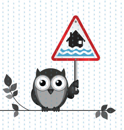 strigiformes: Owl with flood warning sign isolated on white background
