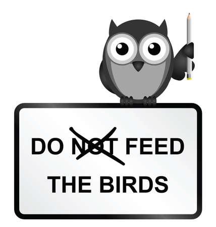 reviser: Monochrome comique ne nourrir les oiseaux signe isol� sur fond blanc