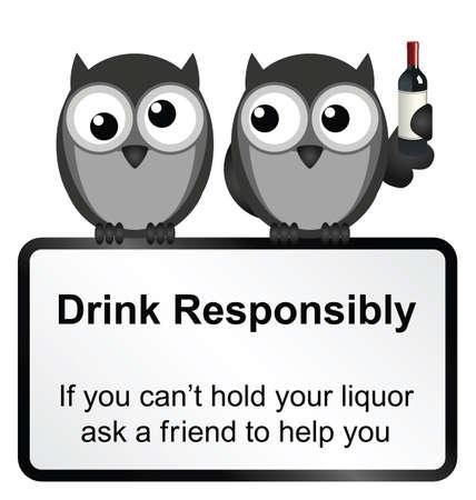 responsabilidad: Bebida cómico Monocromo responsablemente signo aislado sobre fondo blanco