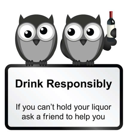 Monochrome comical drink responsibly sign isolated on white background