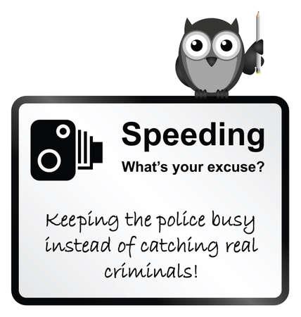 Monochrome comical motorist speeding sign isolated on white background