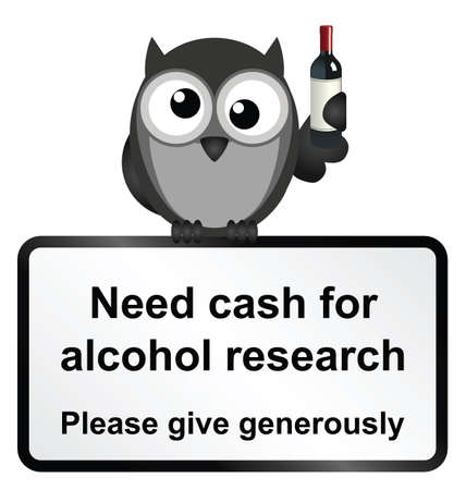 inebriated: Monochrome comical alcohol research sign isolated on white background Illustration