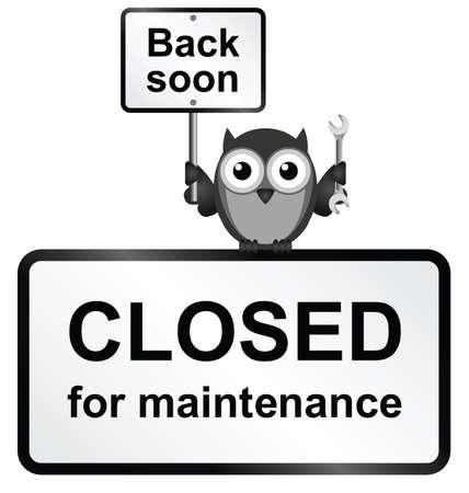 орнитология: Монохромный Интернет-сайт закрыт на техническое обслуживание знак, изолированных на белом фоне
