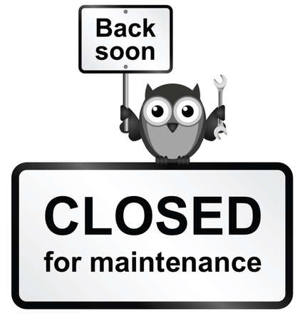 upkeep: Monochrome Internet site closed for maintenance sign isolated on white background