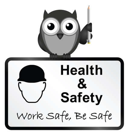 ppe: Monochrome comical health and safety sign isolated on white background