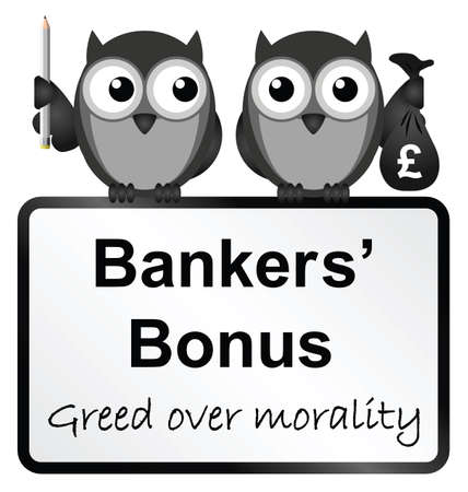 greedy: Monochrome banker bonuses with UK currency sign isolated on white background