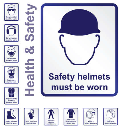 Construction and manufacturing related health and safety sign collection isolated on white background
