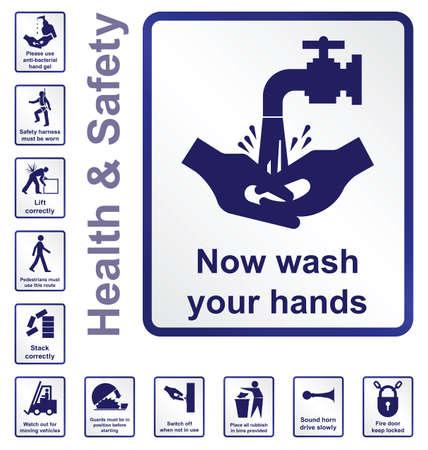 señales de seguridad: La construcción y la manufactura relacionada colección salud y seguridad signo aislado sobre fondo blanco