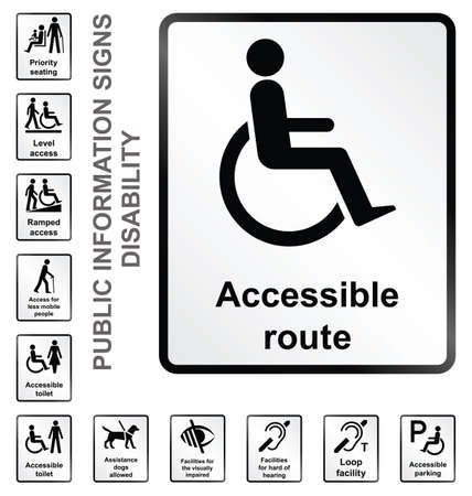 Monochrome disability related public information signs isolated on white background Vector