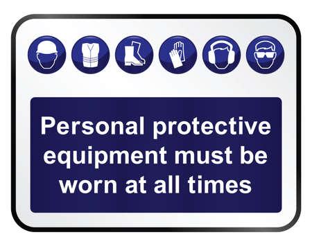 흰색 배경에 고립 된 건설 필수 보건 및 안전 표지판