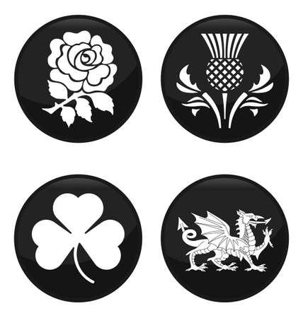イギリスの紋章の黒いボタン設定に孤立した白い背景