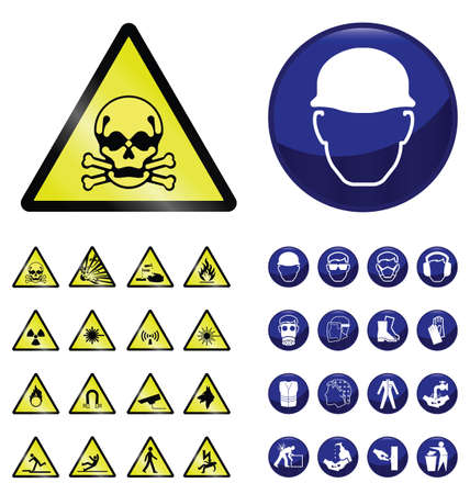 señales preventivas: Construcción obligatoria Colección de la muestra de la salud y la seguridad y de advertencia de peligro aislado en fondo blanco