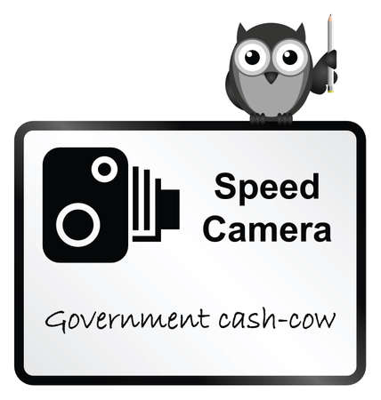 strigiformes: Monochrome Speed Camera Government revenue sign isolated on white background