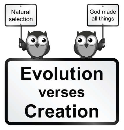 theological: Monochrome Evolution verses Creation sign isolated on white background