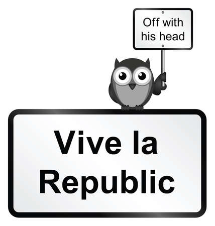 Monochrome comical vive la republic sign isolated on white background