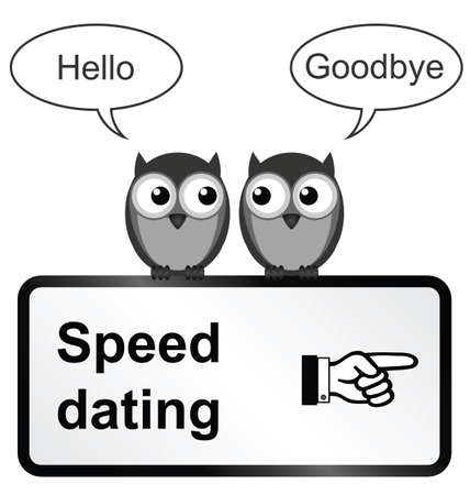 speed dating: Monochrome comical speed dating sign isolated on white background Illustration