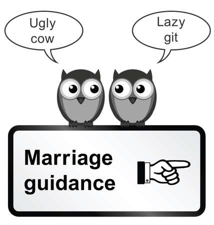 counsellor: Monochrome comical marriage guidance sign isolated on white background Illustration