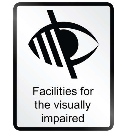 amenities: Monochrome visually impaired public information sign isolated on white background