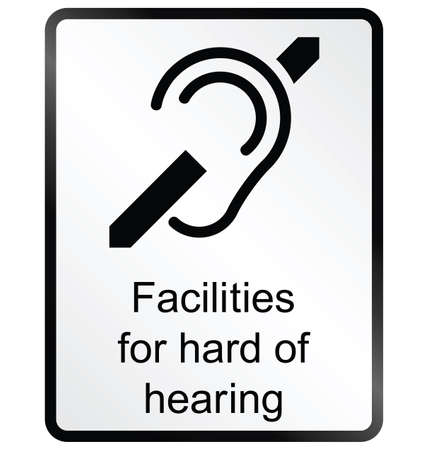 amenities: Monochrome hard of hearing public information sign isolated on white background