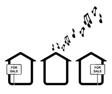 ruidoso: Concepto monocrom�tico de vecinos ruidosos aislados sobre fondo blanco