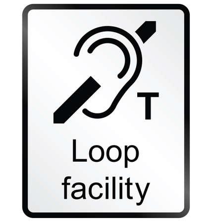 Installation Monochrome boucle signe d'information du public isolé sur fond blanc