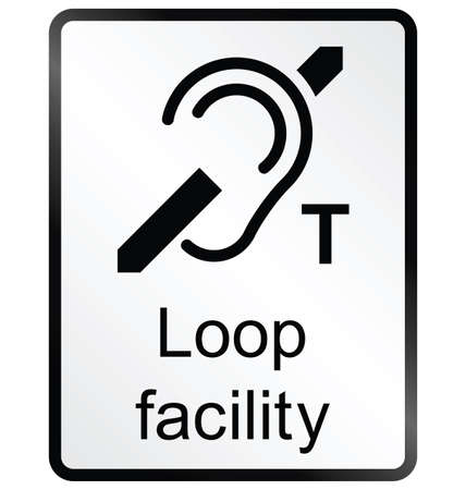 amenities: Monochrome Loop facility public information sign isolated on white background Illustration