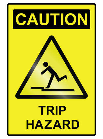 hazard sign: Trip hazard public information sign isolated on white background Illustration