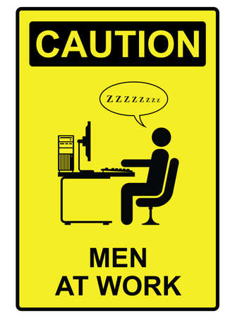 Comical men at work sign isolated on white background Stock Vector - 28073893