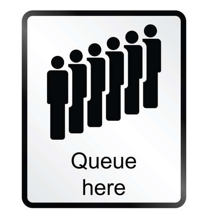 queuing: Monochrome queue here public information sign isolated on white background Illustration