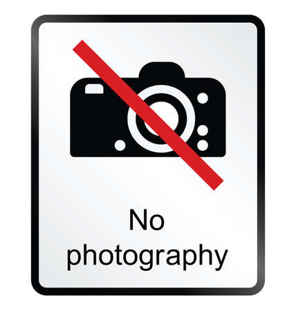 Monochrome no photography public information sign isolated on white background Vector