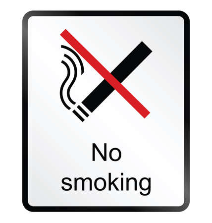 Monochrome no smoking public information sign isolated on white background Stock Vector - 28111818