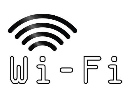 wlan: Monochrome WiFi text symbol isolated on white background Illustration