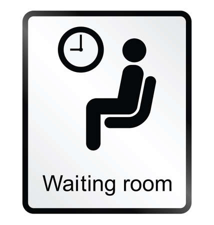 waiting area: Monochrome waiting room public information sign isolated on white background Illustration