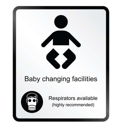 change: Monochrome comical baby changing facilities public information sign isolated on white background