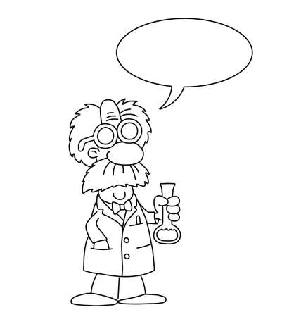 Monochrome outline cartoon scientist with speech bubble for own text isolated on white background Illustration
