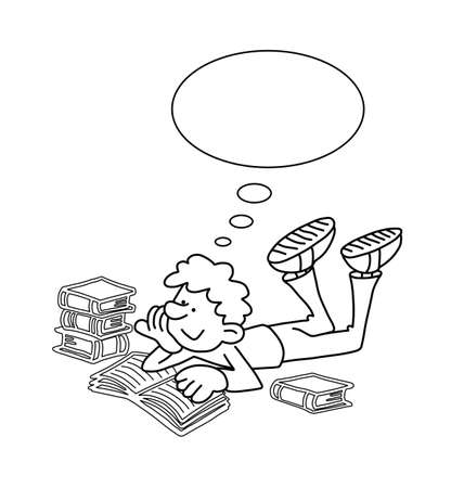 revision book: Monochrome outline cartoon boy reading with thought bubble for own text isolated on white background