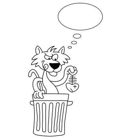 scavenging: Monochrome outline cartoon cat with dinner with thought bubble for own text isolated on white background