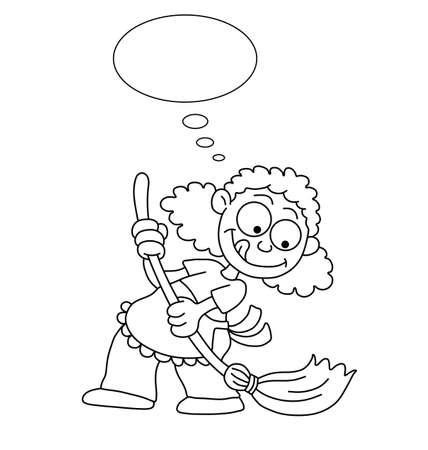 sirvientes: Ama de casa de dibujos animados contorno Monocromo limpieza con burbuja de pensamiento para propio texto aislado en el fondo blanco