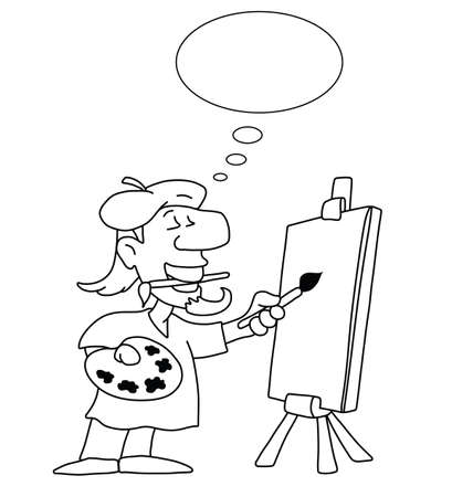 arty: Monochrome outline cartoon artist with thought bubble for own text and blank canvas for own graphics isolated on white background