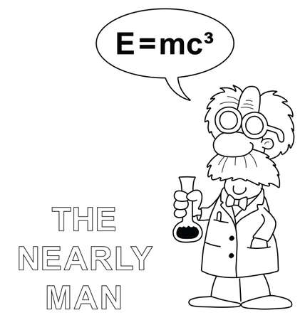 theorem: Monochrome outline cartoon the nearly man scientist with incorrect equation isolated on white background