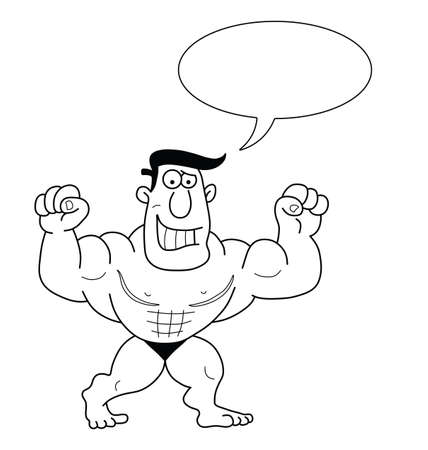 beefy: Monochrome outline cartoon strongman with speech bubble for own text isolated on white background