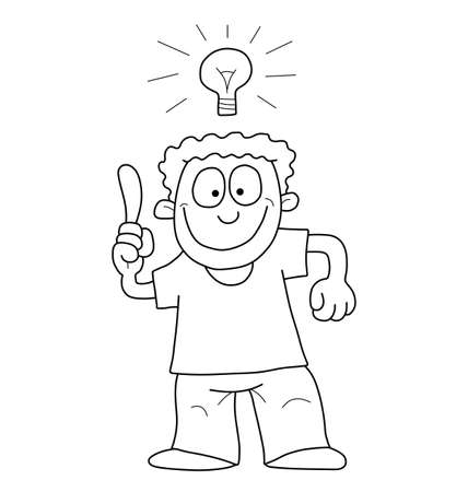 deliberation: Monochrome outline cartoon man having an idea isolated on white background