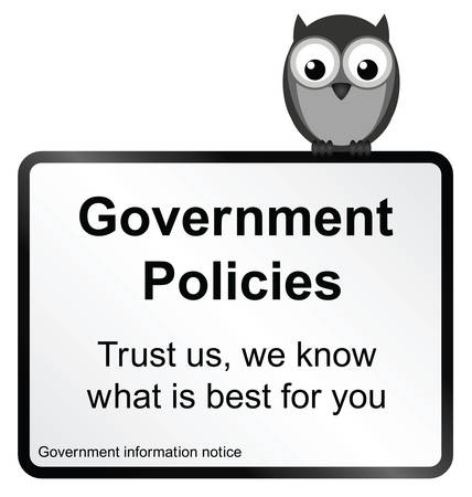 Monochrome comical Government policies sign isolated on white background
