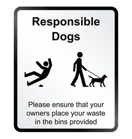 poo: Monochrome comical responsible dog waste public information sign isolated on white background Illustration