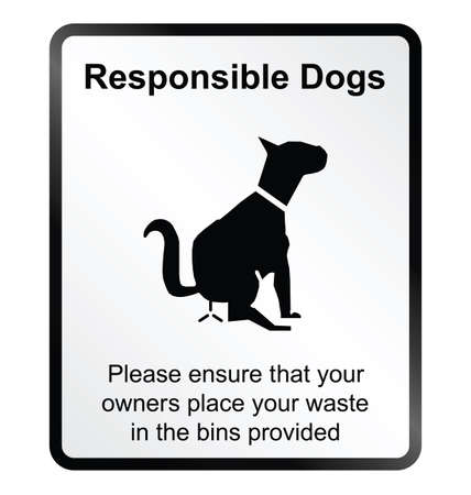 poo: Monochrome responsible dog waste public information sign isolated on white background Illustration