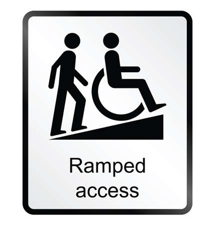 wheelchair access: Monochrome ramped access public information sign isolated on white background